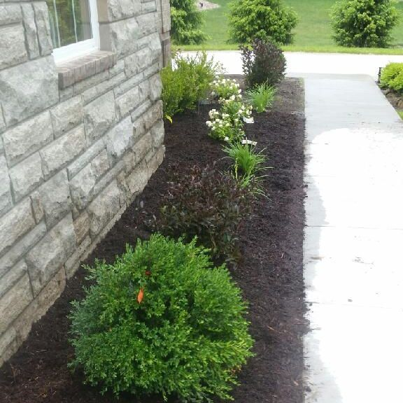 Canton Landscaping Job side garage