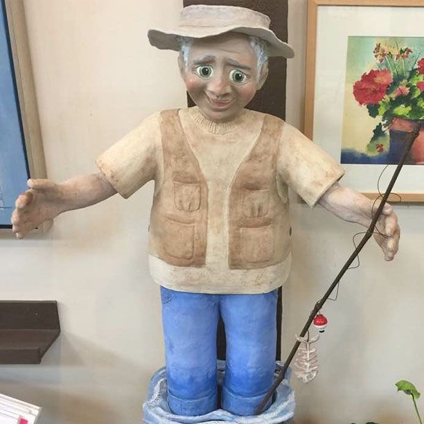 "CMiles - Fred's Tall Tale - The One that Got Away, paperclay, 40""x20""x18"""