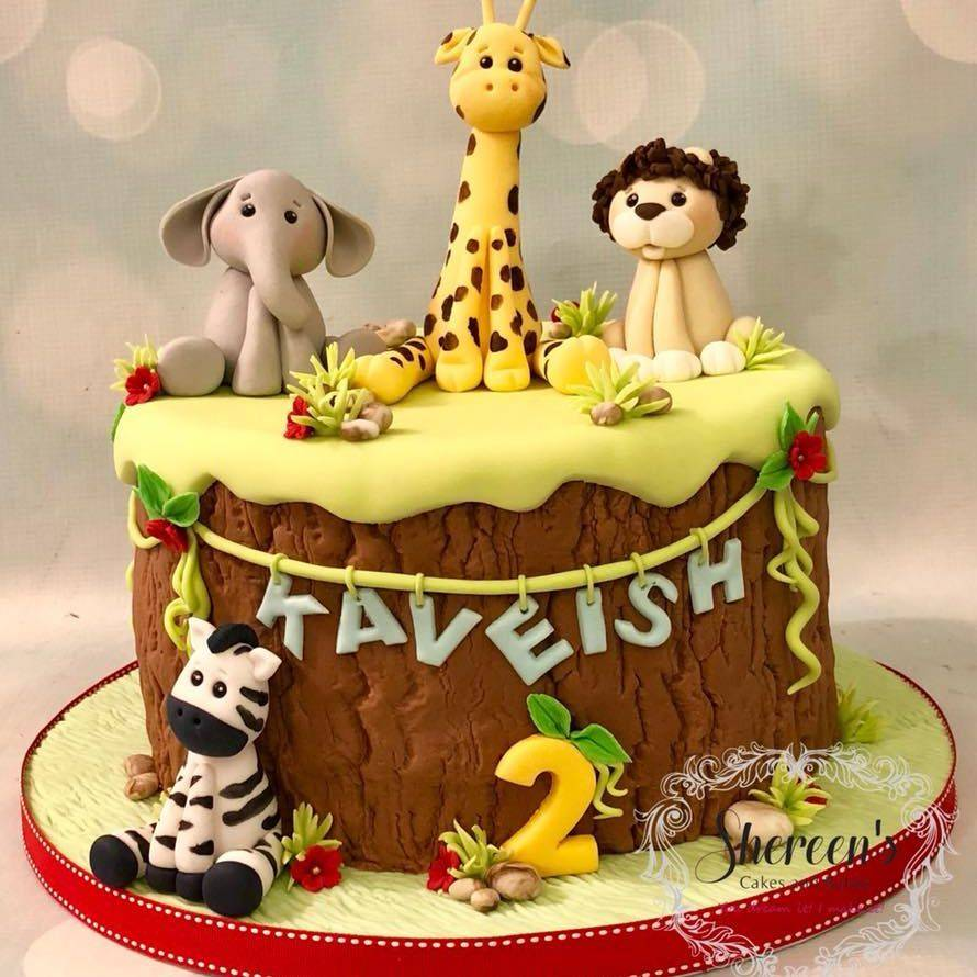 Jungle Birthday Cake Elephant Zebra Lion Giraffe Safari