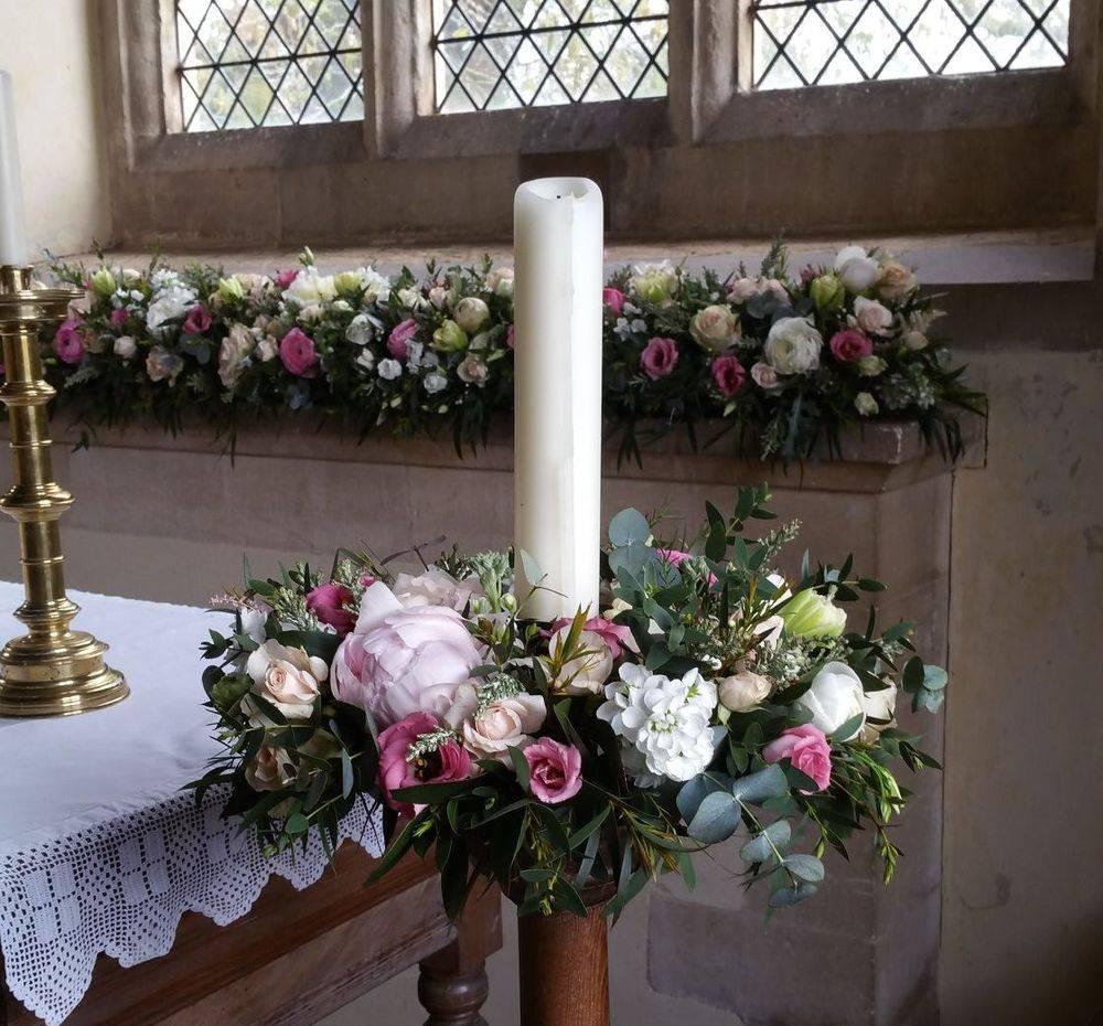 Pastel Church Wedding Flowers