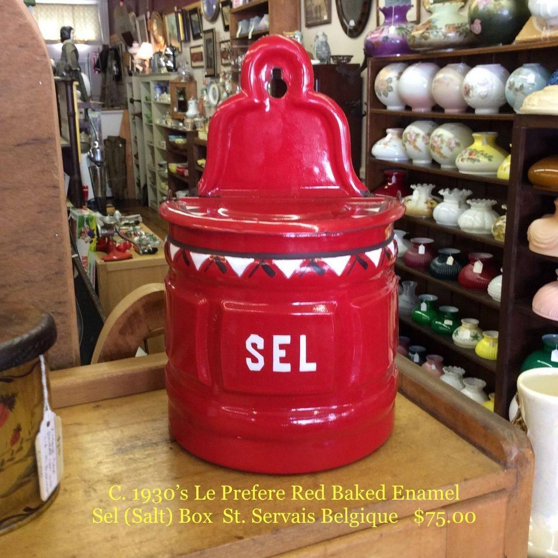 C. 1930's Le Prefere Red Baked Enamel Sel (Salt) Box, St. Servais Belgique   $75.00