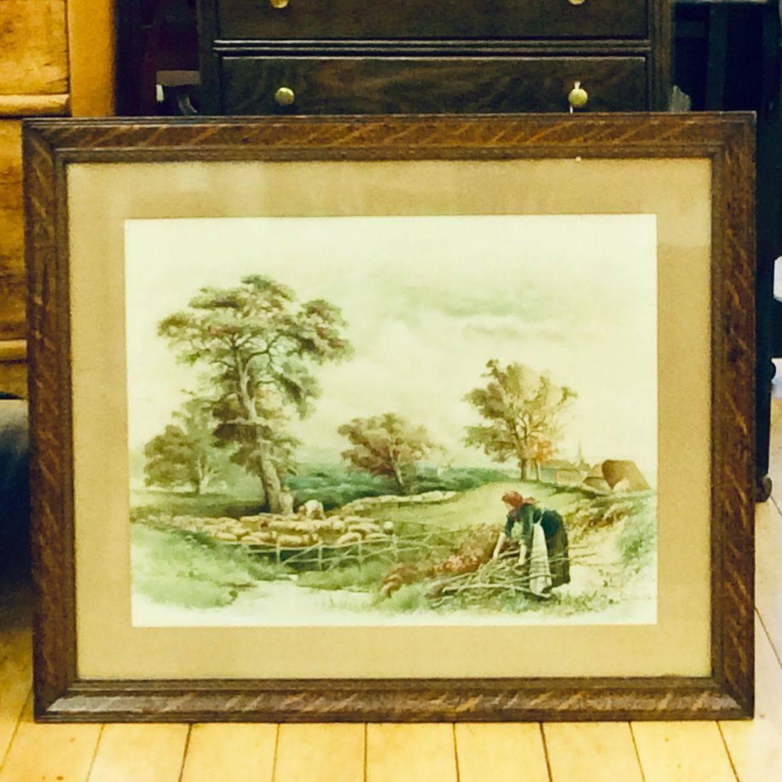 "Circa Late 1800's Frederick Hines Pastoral Scene Litho - 20-1/2"" x 24-1/2"" Oak Frame w/Ribbonery   $125.00"