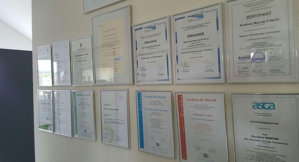 Zertifikate für die medizinische Massage und Maderotherapie von Svetlana Marcek