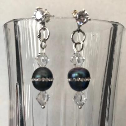 Peacock, Purple Pearl Earrings, Earrings, women's earrings, sterling silver earrings, crystal earrings