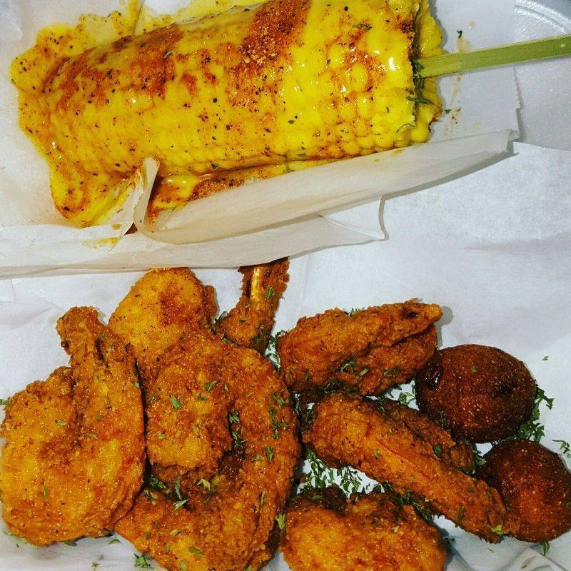 Fried Shrimp w/ Cajun Corn on a Stick