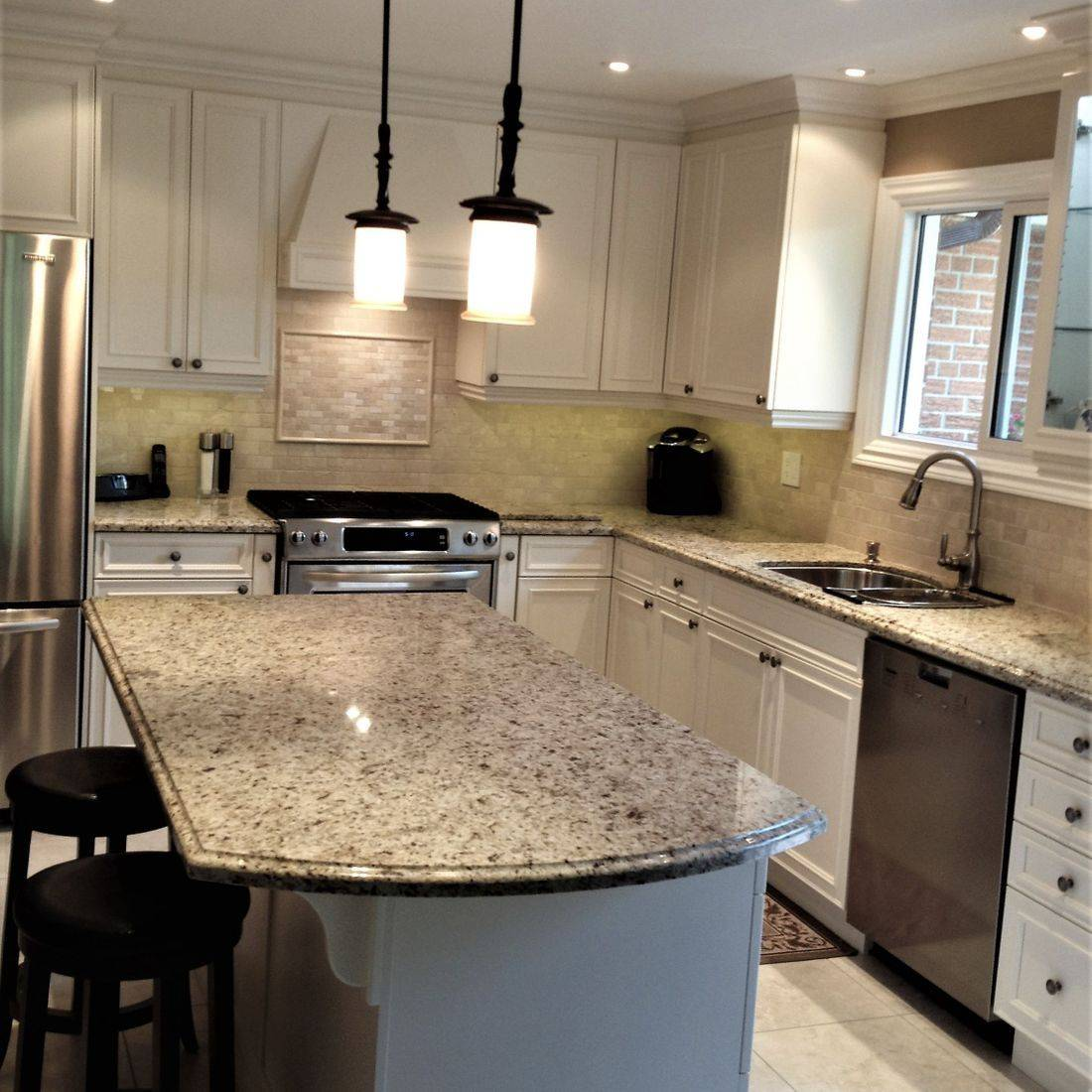 Sibra Kitchens Markham Toronto granite counter white cabinets