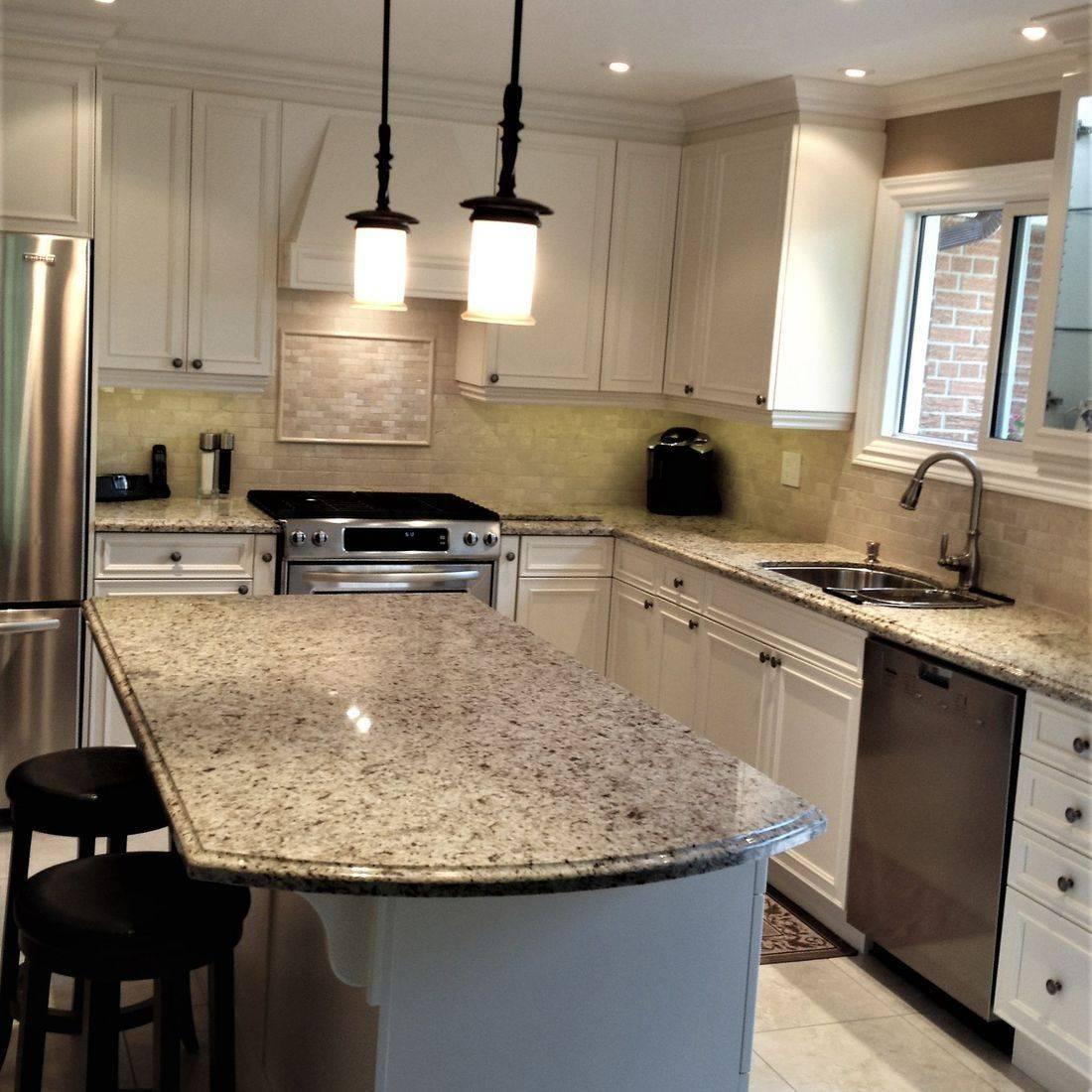 Sibra Kitchens Markham Toronto granite counter white cabinets