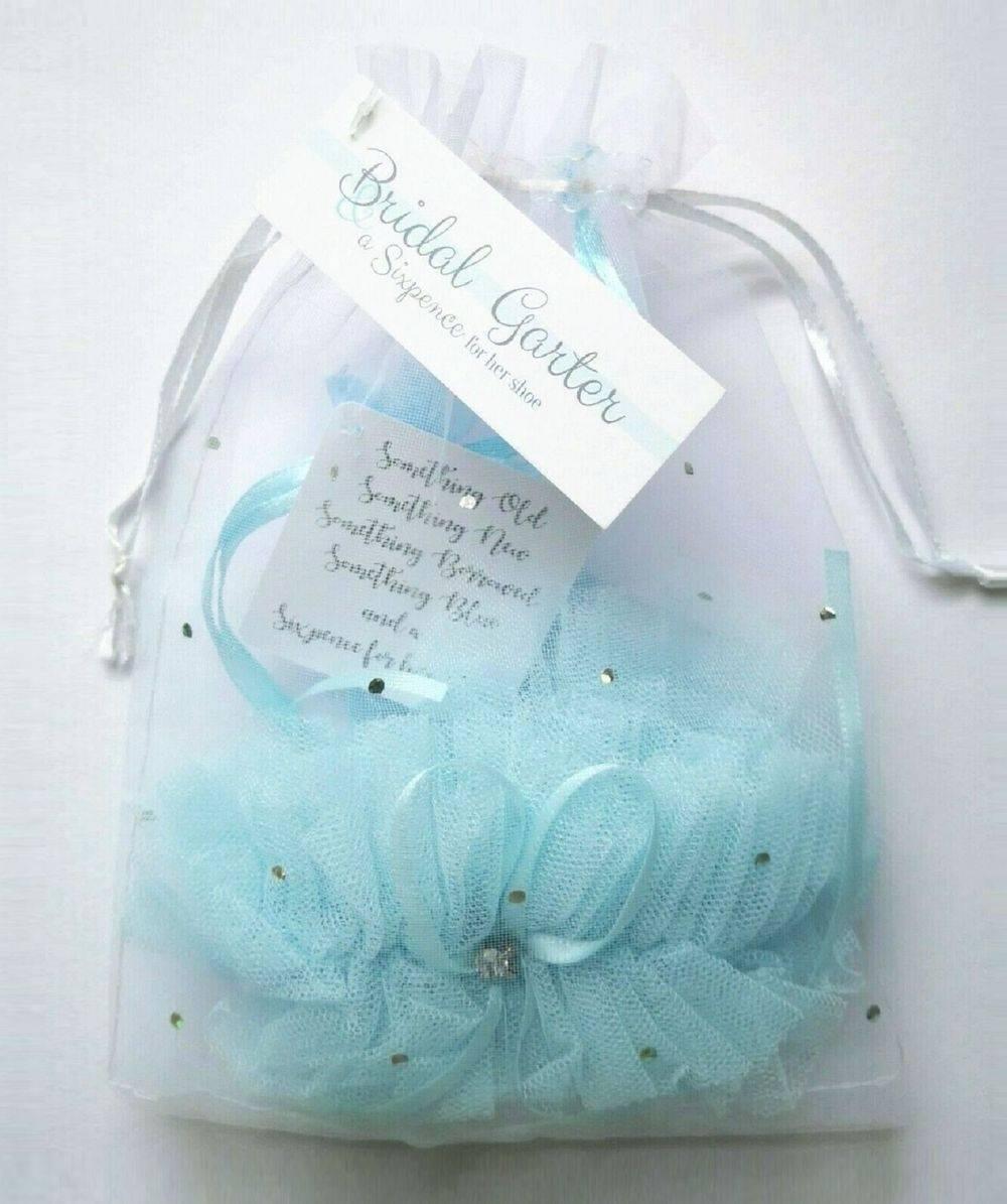 blue garter for the bride & lucky sixpcene