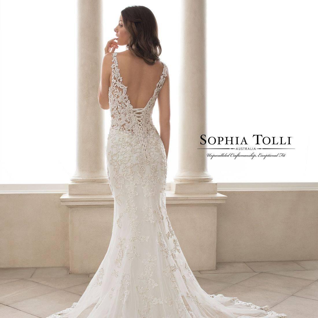 Fitted wedding dress, sophia tolli, sophia tolli wedding dress, spaghettin straps, straps, v neck, sweetheart neck, lace, plus size, deep v back, illusion,  lace up back, corset back