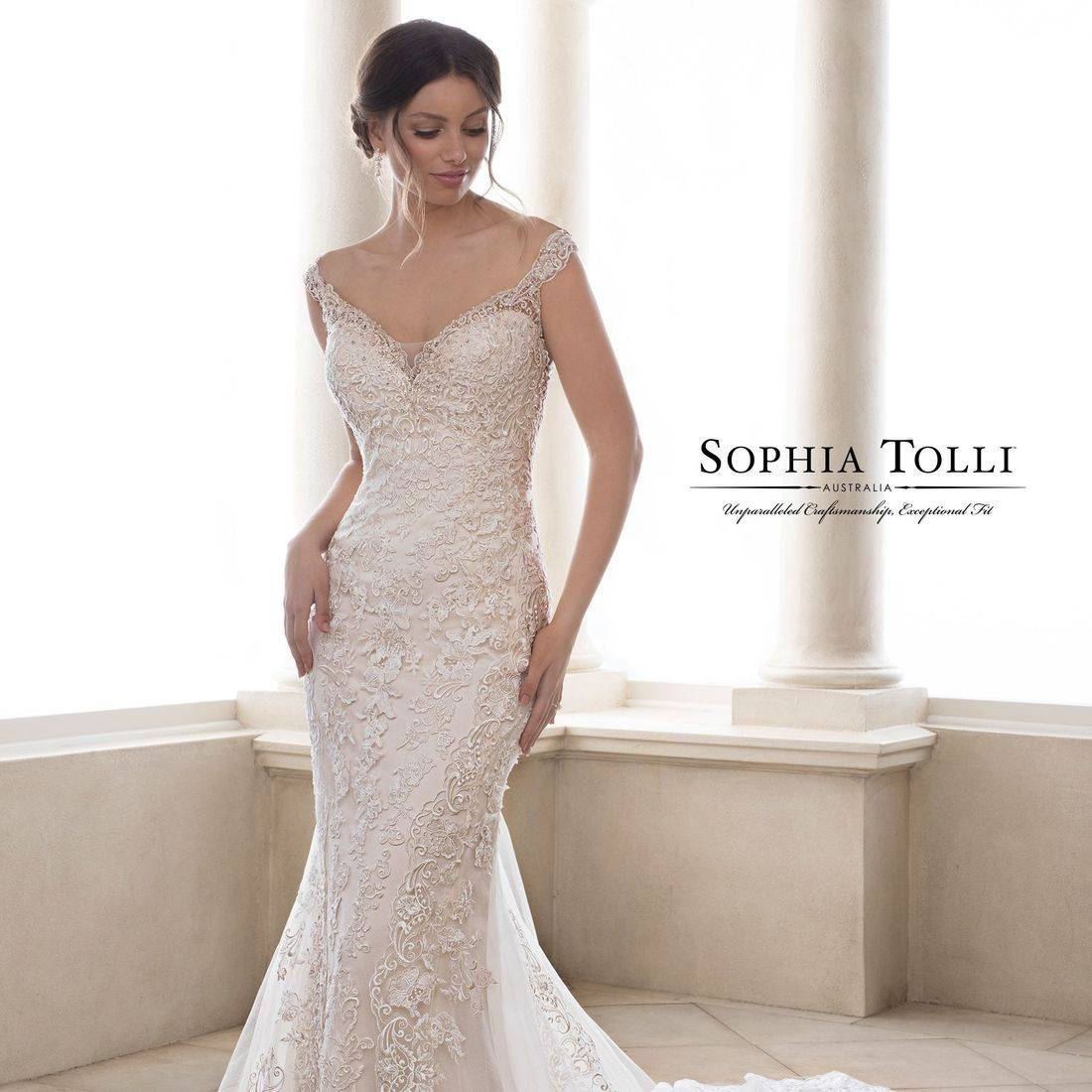 sophia tolli, sophia tolli wedding dress, fit and flare, lace, sparkle, dipped back, v neck, fitted wedding dress, straps, sweetheart neck, sexy back, stunning back, 3 tiered train, heart shaped train