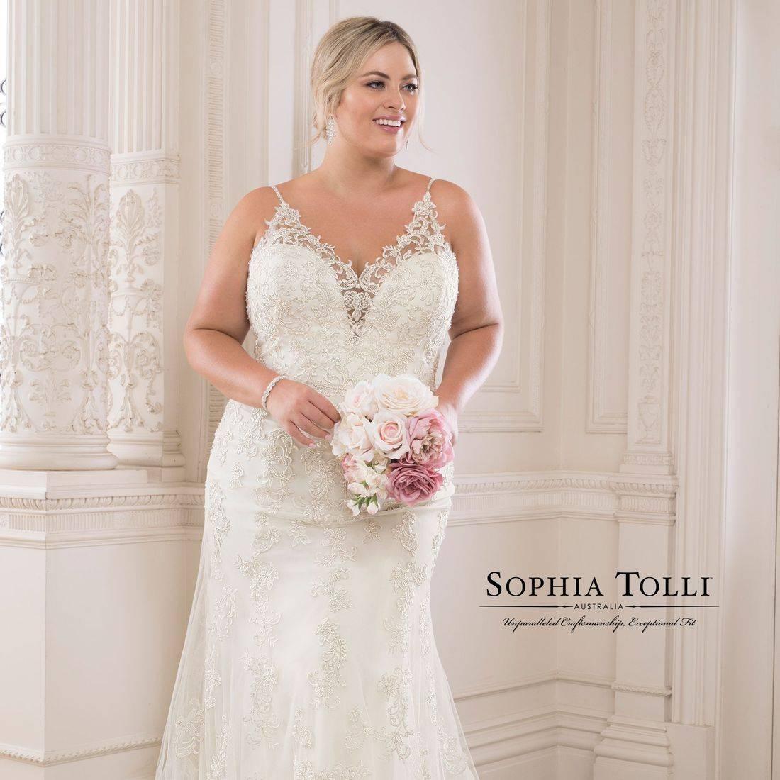 Fitted wedding dress, sophia tolli, sophia tolli wedding dress, spaghettin straps, straps, v neck, sweetheart neck, lace, plus size, deep v back, illusion,