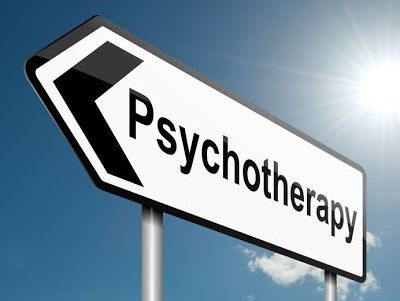 Psychotherapy this way road sign
