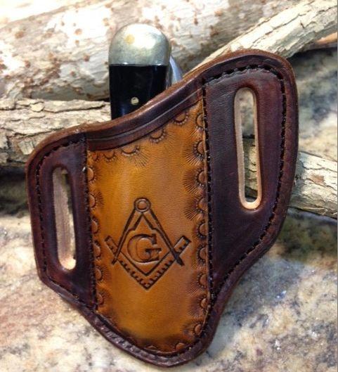masonic tooled , knife sheaths , leather tooled , pancake style , case knife sheath , trapper knives