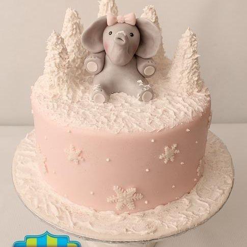 Custom Elephant Winter Wonderland Cake Milwaukee