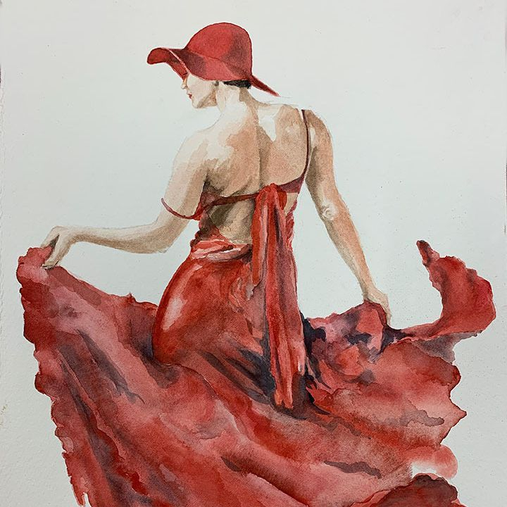 """SBaeckmann - Dancing in Red - 11"""" x 14""""  Watercolors  Matted in Sleeve - $300"""