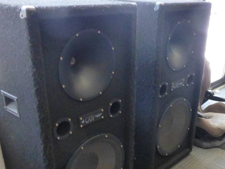 Pair of Tall Mach II black speakers for sale