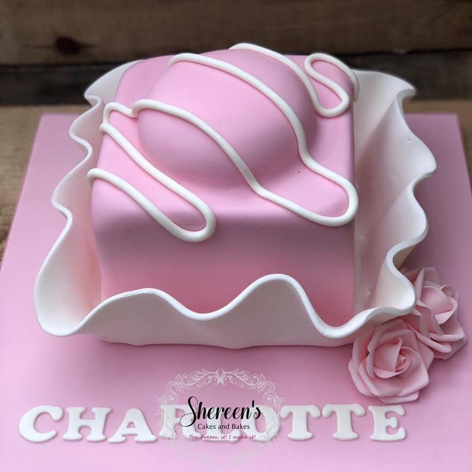 Birthday Cake 21st fondant french fancy rose pink