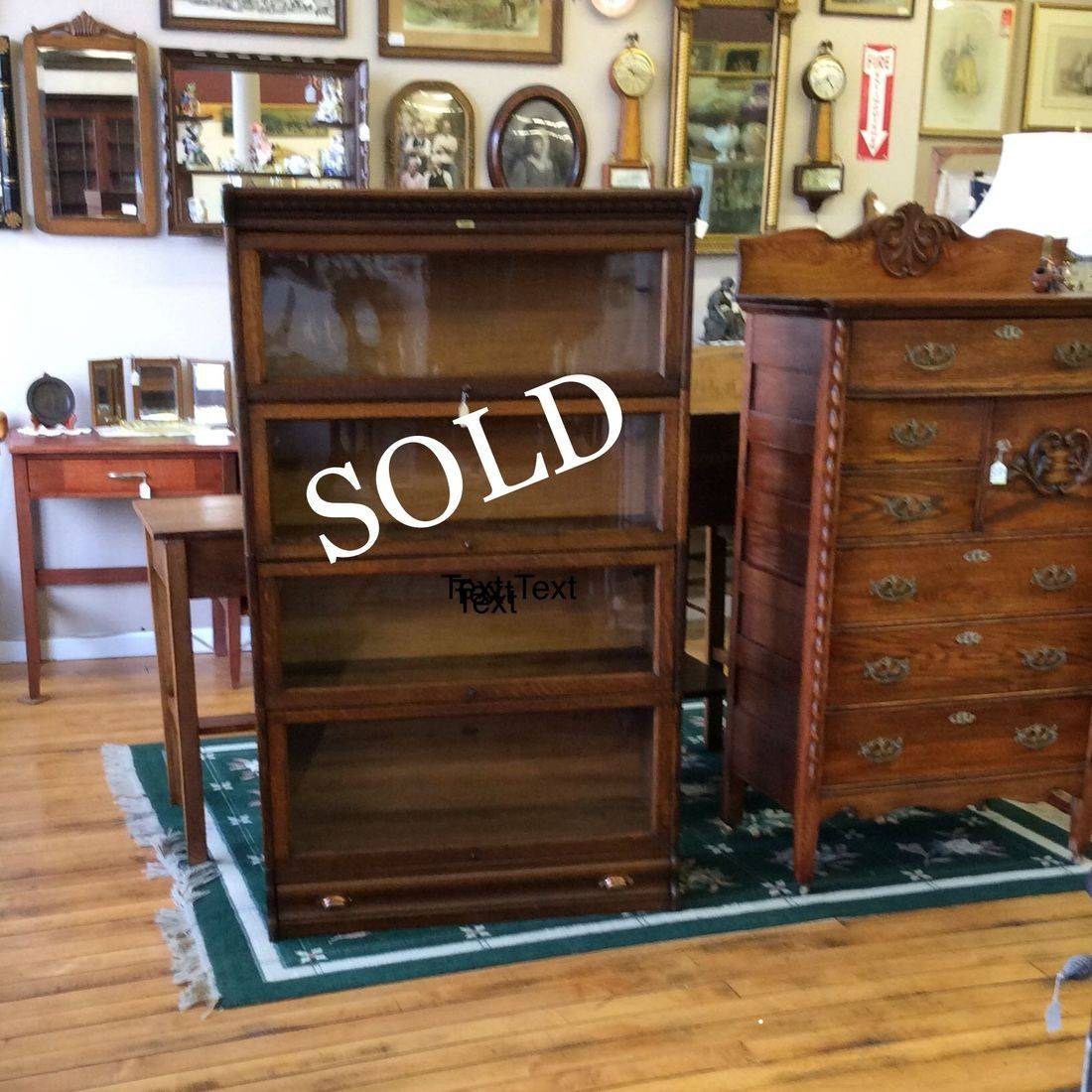 C. 1904-1909 Oak 4-Section Lundstrom Barrister Book Case w/Base Drawer 'Excellent Condition '   $485.00