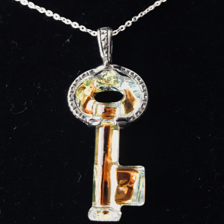 Swarovski Crystal Key with 925 Sterling Silver Bail (from Israel) and Necklace