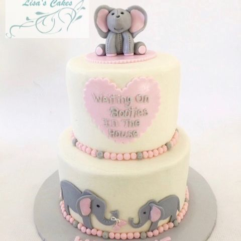 Girl Elephant baby shower cake