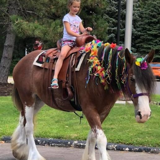 Clydesdale unicorn with a little girl sitting on him