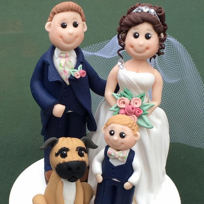 Bride Personlised Groom son Pet Dog Wedding Cake Keepsakes Clay Topper Pink Family