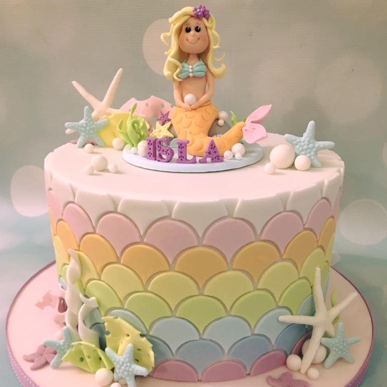 Mermaid Scales Cake Under Sea Starfish Shells Coral