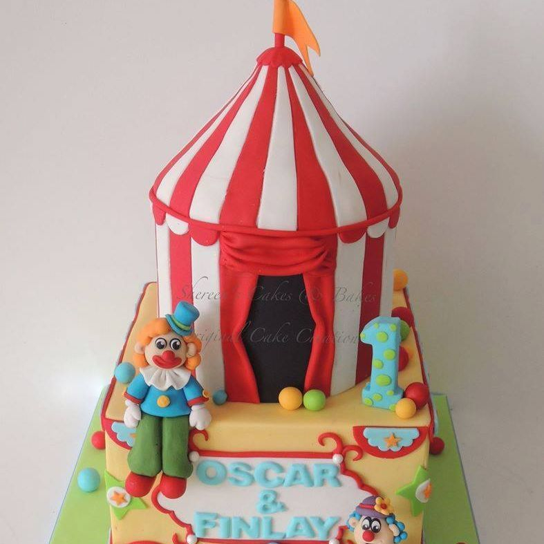 Circus Big Top Birthday Cake Clown 1st Tent