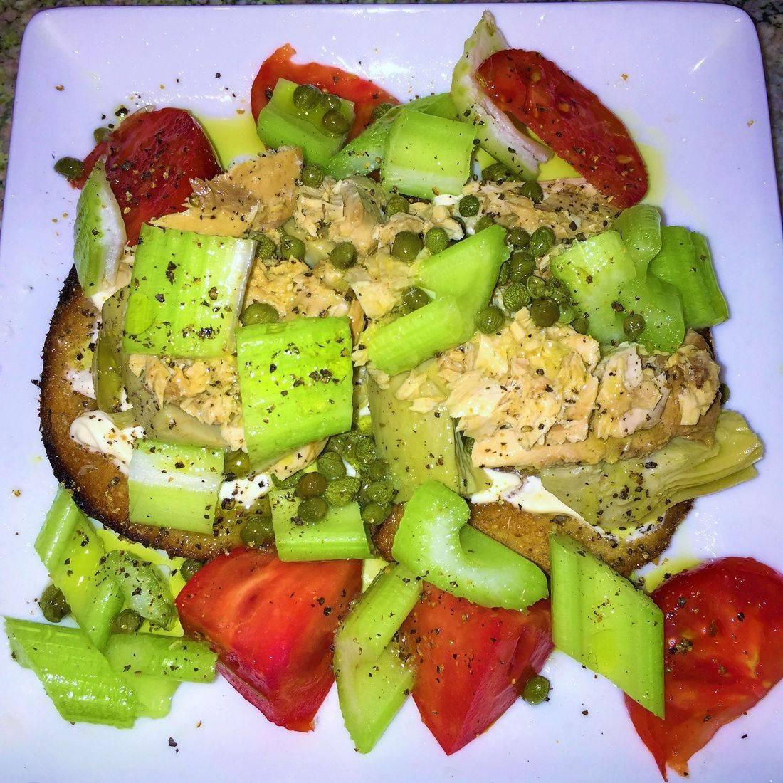 open face tuna caper artichoke sandwhich