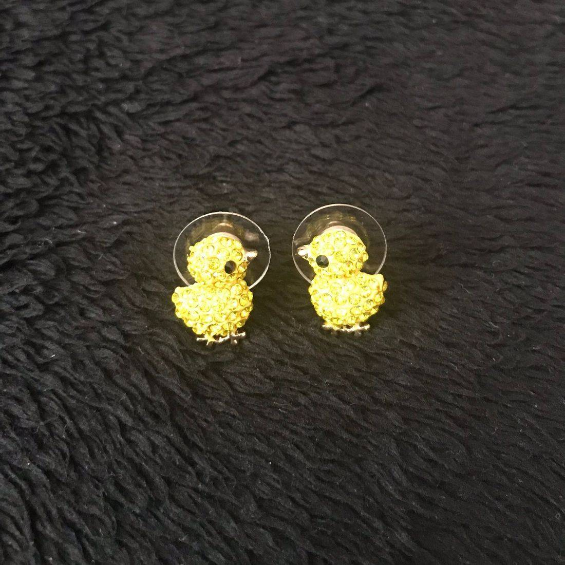 Yellow, Rhinestone, Earrings, Costume Jewelry