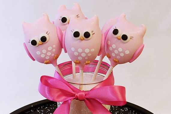 Pink Owl Cake pops Custom cakepopsStars New Year Cake pops