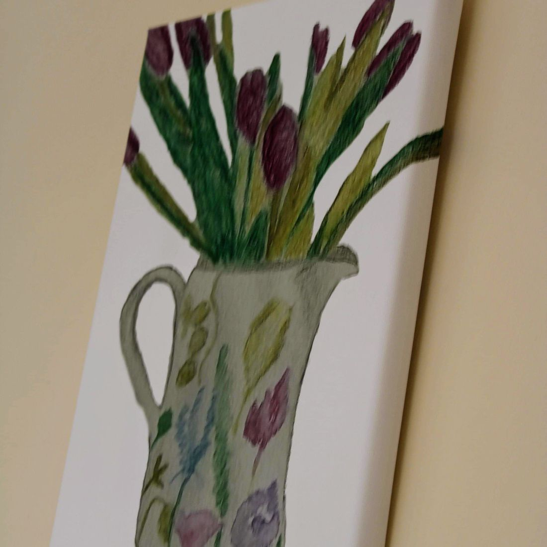 Jug with tulips canvas 30 x 20