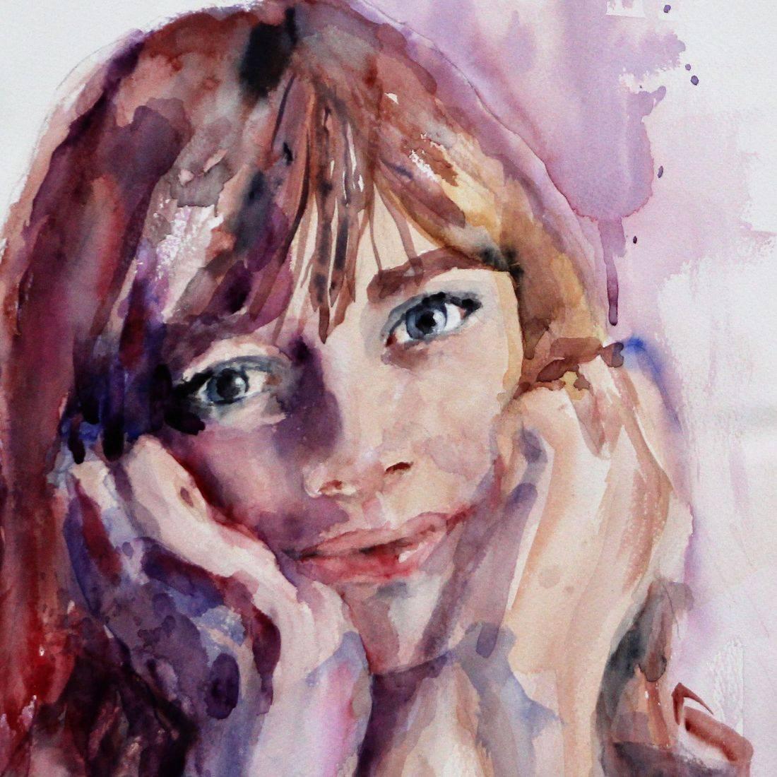 R Putbrese watercolor portrait of child by Rebecca Krutsinger