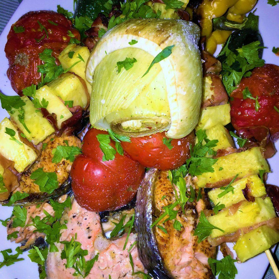 grilled veggies and salmon