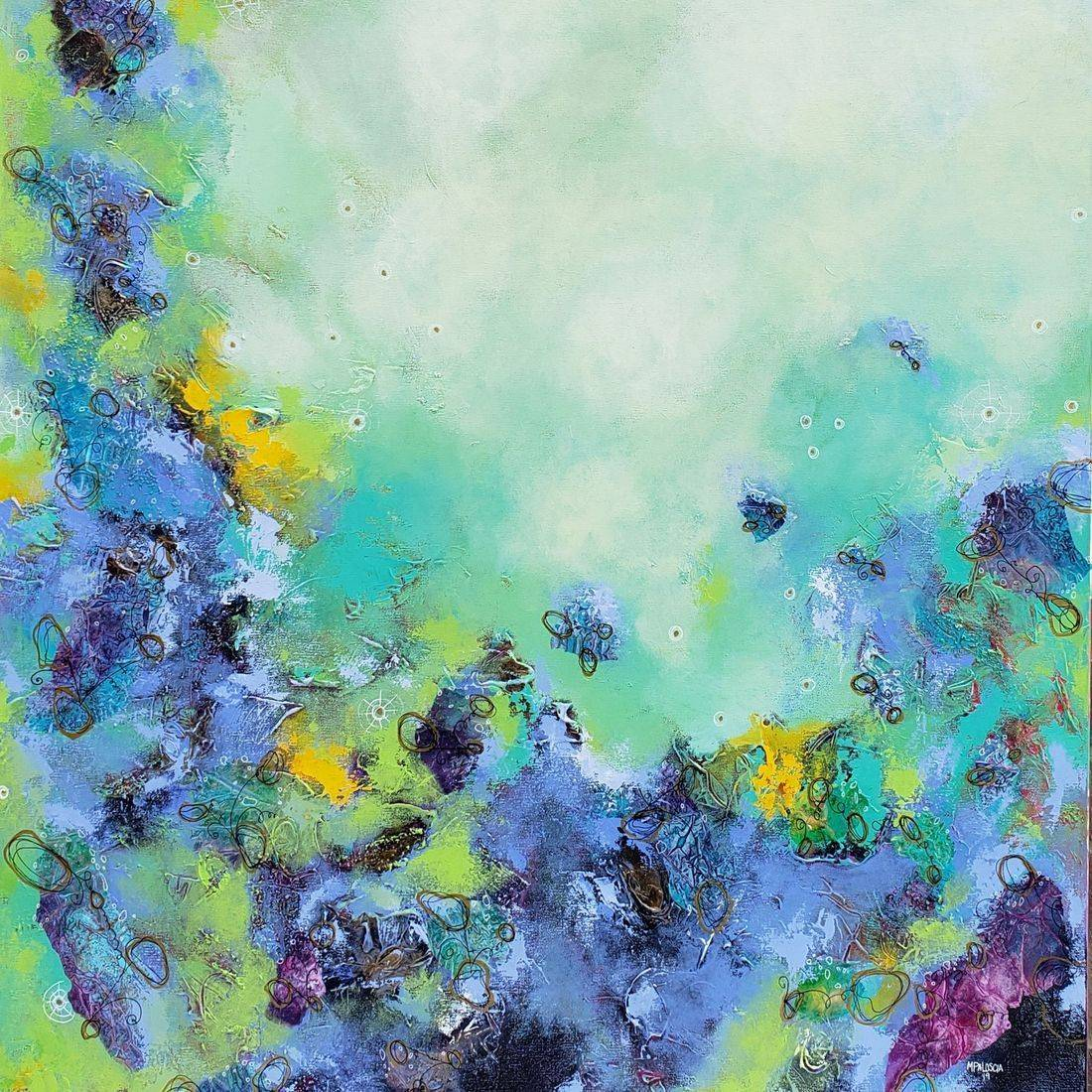 acrylic painting abstract contemporary art cosmos nebula sciart