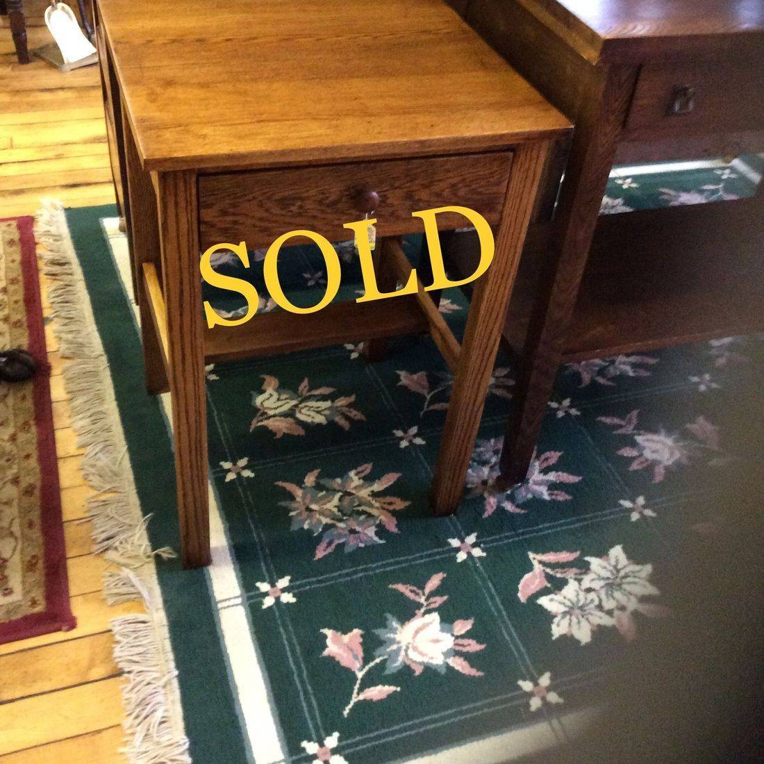 """Vintage Hand-Made Mission Oak 1-Drawer Side Stand 21""""W x 19""""D x 30""""H.  $95.00"""