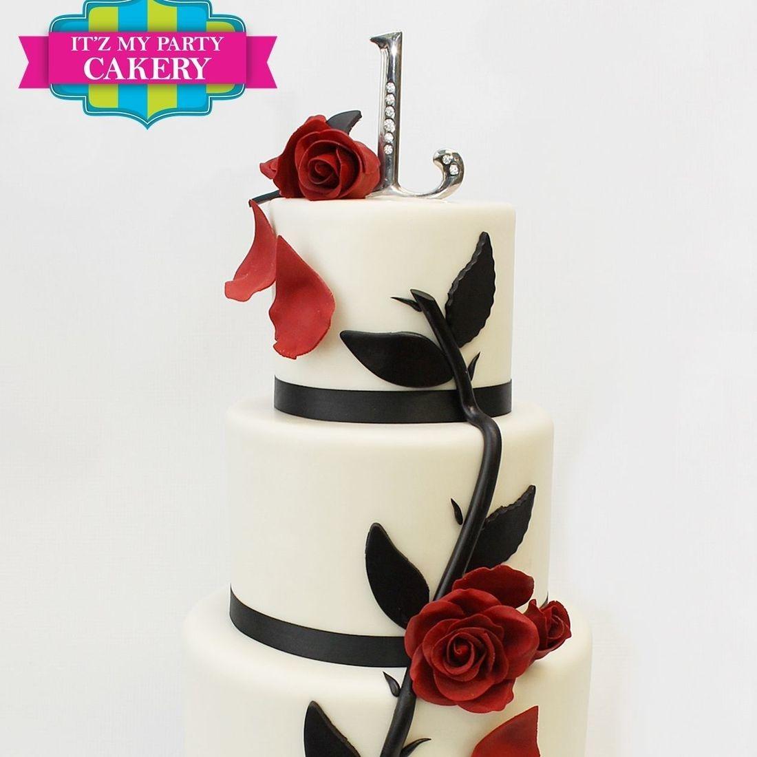 Custom  Red Rose Cascade Cake  Milwaukee