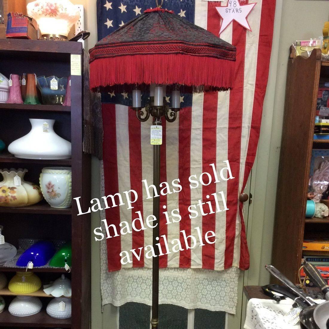 Victorian Style Shade w/Tassels  $75.00  w/ C. 1930's/40's Torchiere 4-Lite Lamp  $175.00