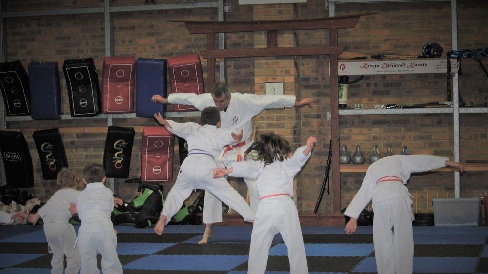 Kids during karate warmup
