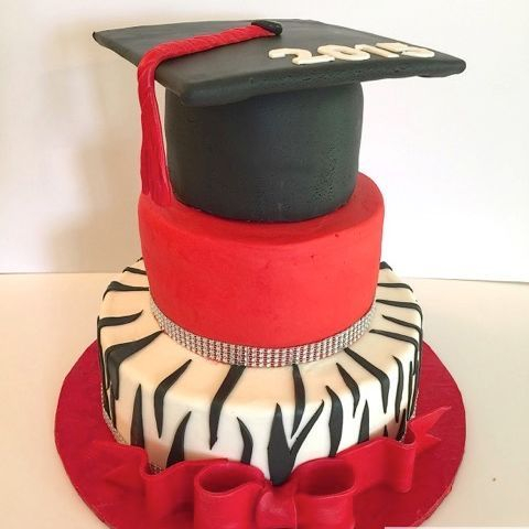 Red & Black Graduation Cake