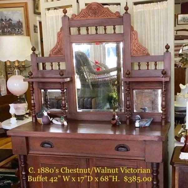 """Circa 1880's Chestnut/Walnut Victorian Buffet  42""""W x 17""""D x 68""""H.  $385.00"""