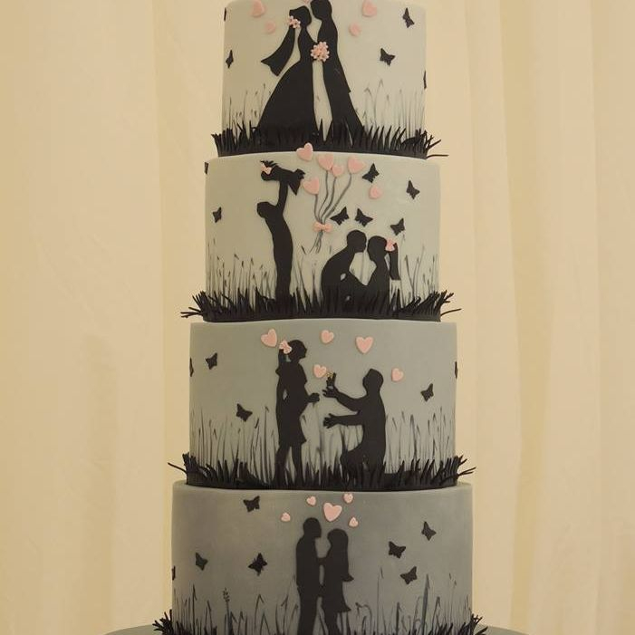 Grey Silhouette Wedding Cake Love Story Life butterflies Flowers