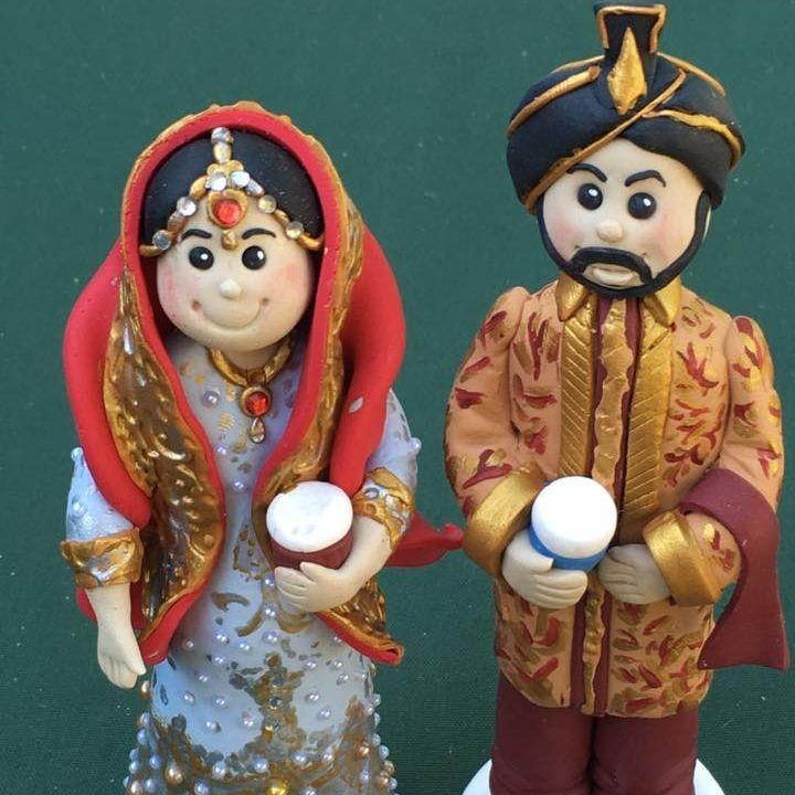 Bride Groom Personlised Family Pet Keepsakes Wedding Clay Topper Asian Sari Indian