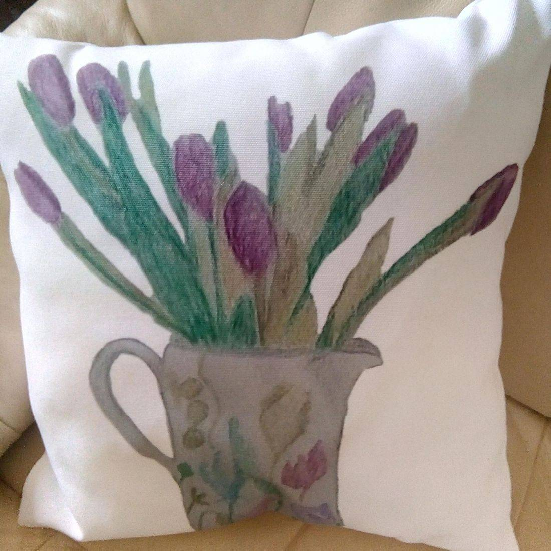 Cushion with Jug of Tulips design