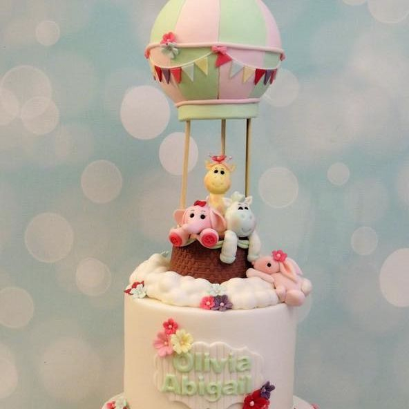 Animals Hot Air Balloon Flowers Bunting Baby Girl Shower Christening Birthday Celebbration Cake