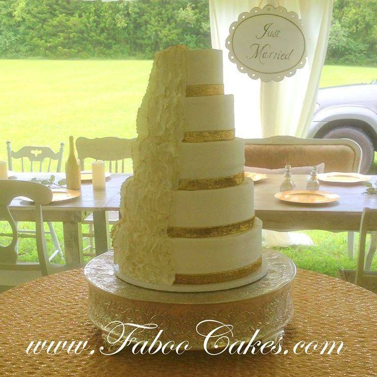 Buttercream Wedding Cake gold ruffles  country southern Chic