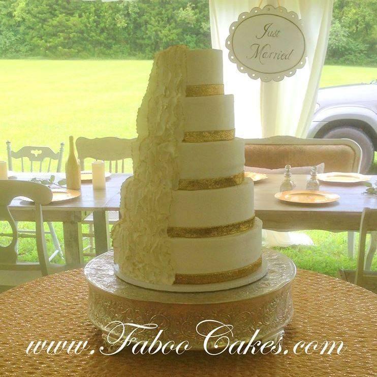 Buttercream Wedding Cake gold ruffles  country southern Chic