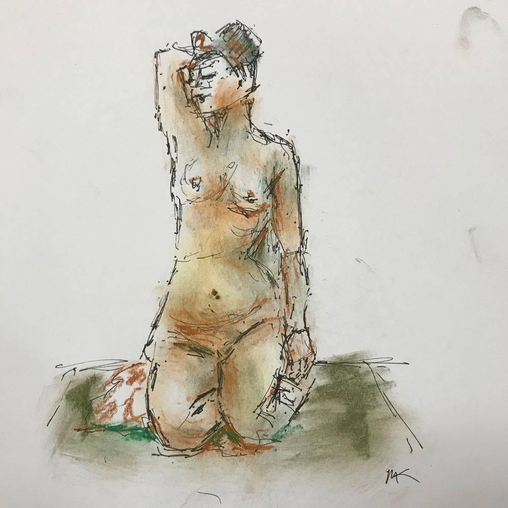 life drawing: woman kneeling - by Marcia Kuperberg