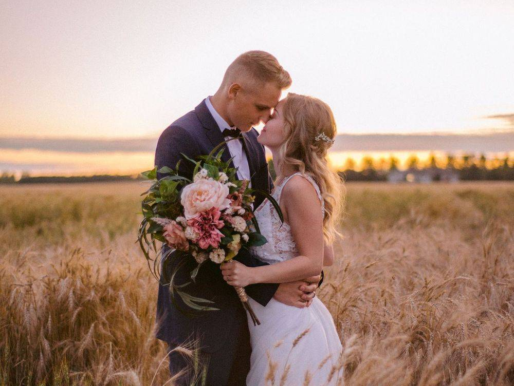 Wheat field sunset bridal couple lace and chifon wedding dress