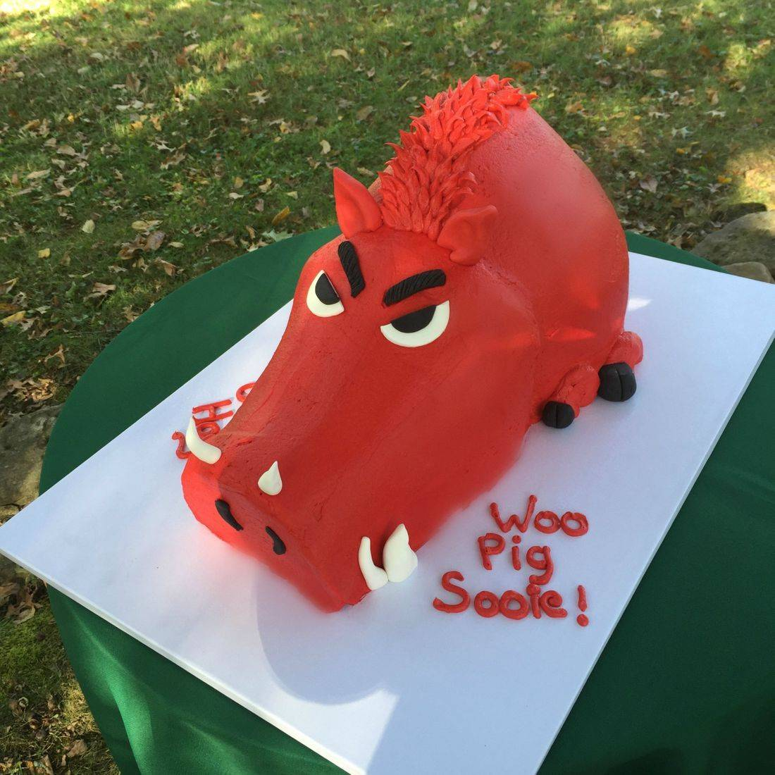 chocolate buttercream  grooms cake woo pig sooie cake Arkansas football cake